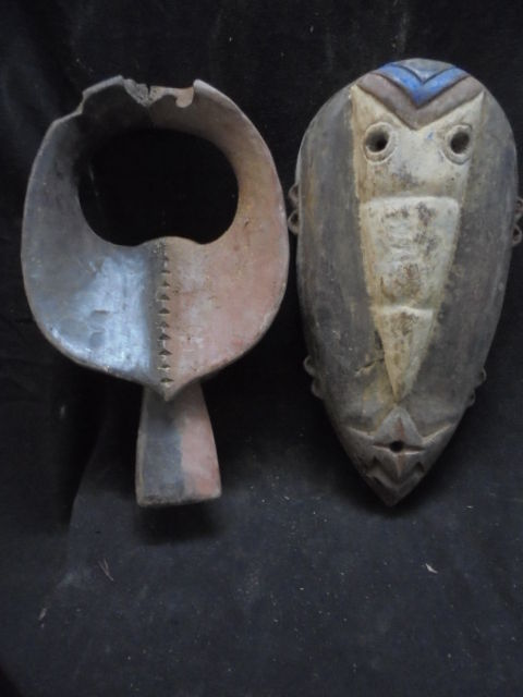 Lot of two MANBILA masks, Nigeria and Gabon VUVI