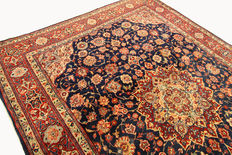 Fine Persian carpet, Iran, Sarough, 3.51 x 2.70 m, blue, hand-knotted, high-quality virgin wool, oriental carpet, TOP CONDITION