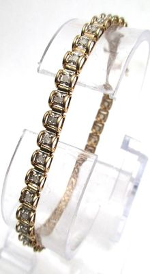 Yellow Gold Vintage  - 1.00 CT Diamond Tennis Bracelet Stamped  SI2M