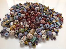 Lot of antique drawn and wound Venetian beads