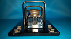 Art Deco writing set of marble with ground glass Inkwell and letter holder
