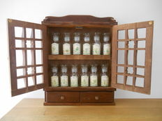 Wood spice cabinet with 12 glass spice jars