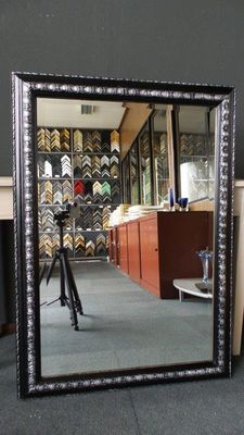 Large size mirror with facet - black silver - wide ornamental frame.