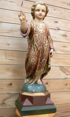 Large Saints image, child Jesus - polychromed plaster - Flanders (BE) - 19th century