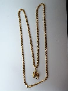 18 kt gold pendant with chain, 51 cm