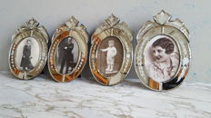 Four photo frames in Venetian glass, 2nd half of 20 century