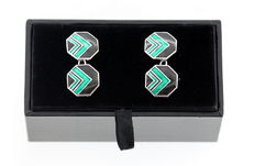 Sterling Silver Black and Green Enamel Octagon Cufflinks