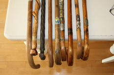 Collection of 9 walking sticks with unique souvenir pictures