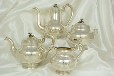 Russia, antique silver Russian tea service, 4 pieces, 1866, Saint Petersburg