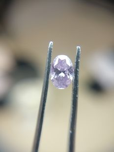 0.25 ct Oval cut diamond Fancy Intense Pink Purple Even I3