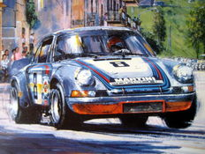 """The Final Targa"" - 57th Targa Florio, Sicily, 13th May 1973 - Gijs van Lennep (Winner) Martini-Porsche 911 Carrera - Fine Art Print"