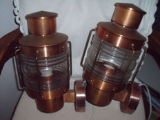 2 ship's wall lamps, copper