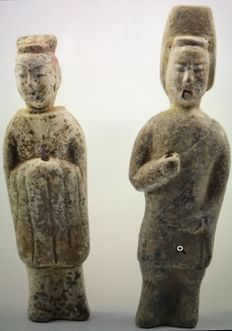 Chinese Ceramic Soldier and Court Lady Figurine Collection (2) - 210 - 230 mm