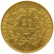 "France – 20 francs 1851A – ""Liberty Head"" - gold"