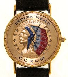 Corum Indian Head with diamonds on dial and crown - Five dollars -  (our internal #149)