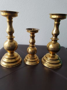 3 German brass pricket candlesticks - 20th century