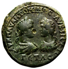 Roman Empire - AE Caracalla with geta as Caesar. 198 AD - 212 AD.Marcianopolis in Moesia Inferior (14,40 g / 27 mm) good quality