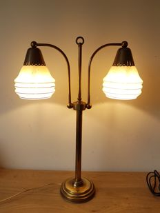 Antique brass table lamp with two glass domes, approx. 1950