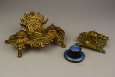 Three old ink wells, bronze/brass and silver with enamel.
