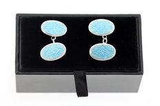 Sterling Silver Light Blue Enamel Oval Cufflinks