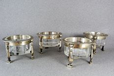 Four tripod salt cellars, France Silver 1st rooster Province 1809-1819