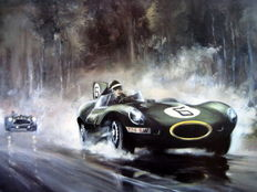 "Fine Art Print  - ""Jaguar D-Type/Mike Hawthorn"" Le Mans 1955 (Winner)"