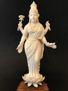 Ivory godess Lakshmi on a lotusflower - India - ca. 1920