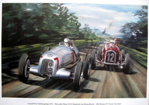 Art Print : German Grand Prix 1936 - Mercedes-Benz/Manfred von Brauchitsch - Alfa Romeo/Tazio Nuvolari