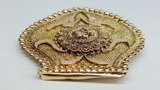 14 kt yellow gold antique brooch, regional item of jewellery, handmade.