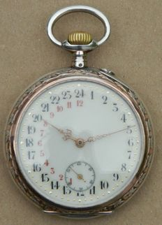 Silver Croissant Cylindere Pocket Watch Circa 1910