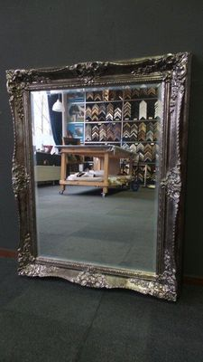 Large Venetian mirror with facet - hand-gilded - antique silver
