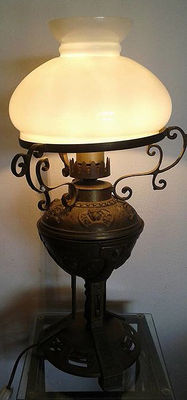 Arts and Crafts brass lamp with milk shade, Germany, 1950s