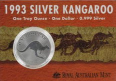 Australia - $1 - Kangaroo 1993! -in blister packaging with certificate - 999 silver coin / silver