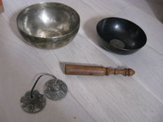 Singing bowls with mallet and tingsha – Nepal – late 20th century