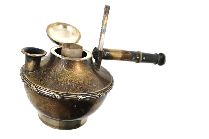 Antique kerosene burner for tea 835 silver 201 gr ca 1900