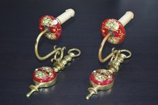 Bohemian gilded and enameled red Moser glass and brass appliques/sconces, mid 20th century, Italy