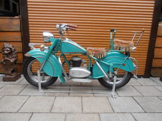 Large Lenaerts fairground motorcycle original 1950s, a top model of fairground motorcycles