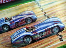 "Fine Art Print - ""Dominant Return"" Juan Manuel Fangio & Karl Kling Mercedes-Benz W196 -  Reims 1954 1st and 2st. Place"