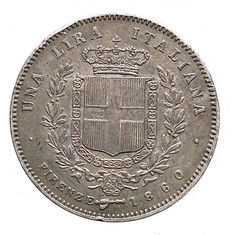 "Italy, Kingdom – 1 lira 1860 – Victor Emmanuel II ""The Chosen King"" – silver"