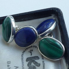 Pair of 925 silver cufflinks with double gemstones - lapis lazuli + malachite