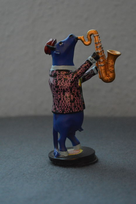 CowParade Cow Blues Figurine (Saxophone Player CowParade) - Small