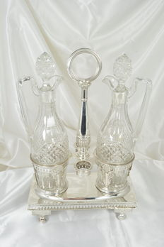 Sterling silver oil and vinegar set, France, Vieillard punch ca. 1820