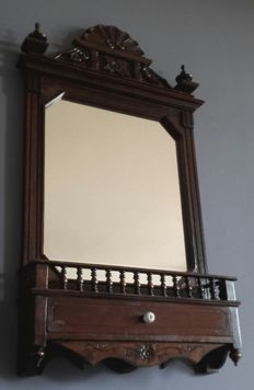 Large oak swing mirror/crest mirror with drawer, mid 20th century
