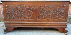 Composite oak blanket chest with carved front - Netherlands - 18th century and later