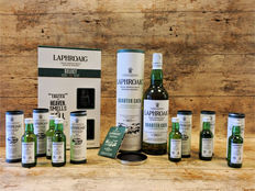 2 bottles & 6 miniatures - Laphroaig lot: Select in giftbox with 2 glasses - Quarter Cask in original tube - 6x 10 years old miniatures