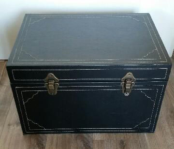 Large (artificial) Leather Storage Chest With Brass Handles