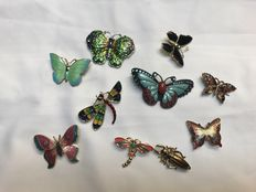 Collection of 10 enamelled butterfly bug brooches signed