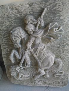 """St. George and the dragon"", stone dust sculpture - Italy - 20th century"