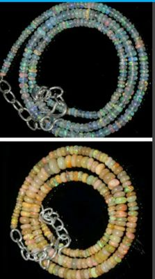 2 natural opal necklaces