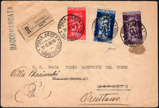 Italian Colonies, Tripolitania 1930 - 'Ferrucci' Airmail - registered mail to Firenze (Florence)